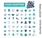 food shopping icons  | Shutterstock .eps vector #401874406