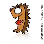 cartoon funny hedgehog with...   Shutterstock .eps vector #401879788