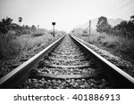 Vintage Railroad With Black And ...