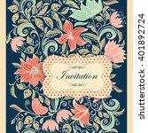 vintage invitation or wedding...   Shutterstock .eps vector #401892724