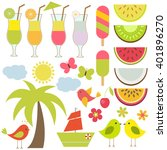 vector set for summer theme.... | Shutterstock .eps vector #401896270