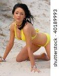 beautiful beach bikini girl | Shutterstock . vector #40189993