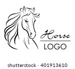 Stock vector horse head logo vector illustration hand drawn style 401913610