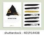 set of trendy posters with gold ... | Shutterstock .eps vector #401914438