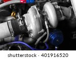 turbo charger kit on car engine | Shutterstock . vector #401916520