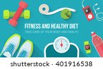 fitness  sport  diet and... | Shutterstock .eps vector #401916538