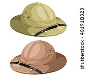 Two Pith Helmet Isolated On A...