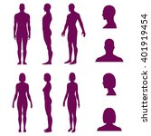 set of silhouettes of standing... | Shutterstock .eps vector #401919454