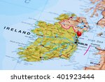 dublin pinned on a map of... | Shutterstock . vector #401923444