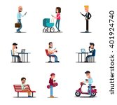 people mobile phones concept.... | Shutterstock .eps vector #401924740