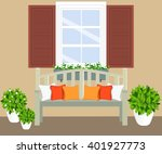 bench with flowerpots and window | Shutterstock .eps vector #401927773