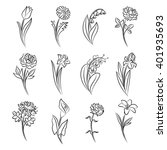 collection of outlined flowers. ... | Shutterstock .eps vector #401935693