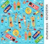 people actively relax  swim in... | Shutterstock .eps vector #401935954