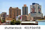 Small photo of Johannesburg, South Africa - December 21, 2013: Johannesburg began as a gold-mining settlement. Today it is one of the world's leading financial centers, the economic & financial hub of South Africa