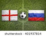 England Vs. Russia Flags On...