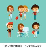 cute people at the simple style ... | Shutterstock .eps vector #401951299