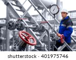 the oil refinery  the worker in ... | Shutterstock . vector #401975746