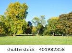 leafy treeline and lush lawn in ...   Shutterstock . vector #401982358