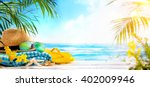 straw hat  towel  sun glasses... | Shutterstock . vector #402009946