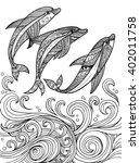 Vector Zentangle Dolphins In...