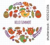 doodle set with flowers  birds... | Shutterstock .eps vector #402012106