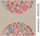 doodle set with flowers  birds... | Shutterstock .eps vector #402012130