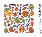 doodle set with flowers  birds... | Shutterstock .eps vector #402012586
