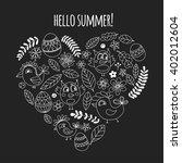 doodle set with flowers  birds... | Shutterstock .eps vector #402012604