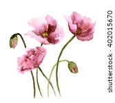 poppies. greeting card.... | Shutterstock . vector #402015670
