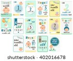 baby boy weeks and months cards | Shutterstock .eps vector #402016678