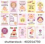 baby girl stepping stone cards | Shutterstock .eps vector #402016750