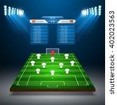soccer field with scoreboard... | Shutterstock .eps vector #402023563
