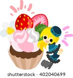 big strawberry cup cake and a... | Shutterstock .eps vector #402040699