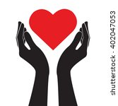 hands holding heart art vector  | Shutterstock .eps vector #402047053