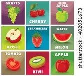 vintage fruits poster design set | Shutterstock .eps vector #402051673