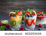 layered berry and chia seeds... | Shutterstock . vector #402053434
