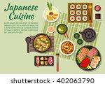 japanese cuisine with maki ... | Shutterstock .eps vector #402063790