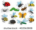 Cartoon Bee And Bug  Butterfly...