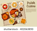 polish cuisine dishes with pork ... | Shutterstock .eps vector #402063850