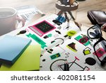 youth social media technology... | Shutterstock . vector #402081154