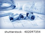 metal plumbing fittings project | Shutterstock . vector #402097354