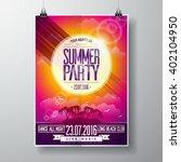vector summer beach party flyer ... | Shutterstock .eps vector #402104950