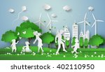 concept of eco with family... | Shutterstock .eps vector #402110950