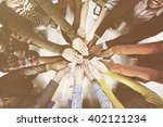 diverse and casual people and... | Shutterstock . vector #402121234