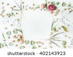frame with roses  lavender ... | Shutterstock . vector #402143923