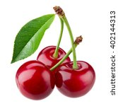 Cherry With Leaves Isolated On...