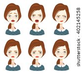 woman with different facial... | Shutterstock .eps vector #402145258