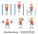 set of sportsman making... | Shutterstock .eps vector #402154528