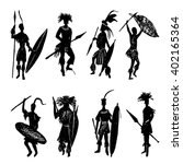 collection of eight silhouettes ... | Shutterstock .eps vector #402165364
