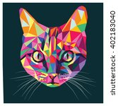 Stock vector cat in pop art colors colorful low poly design isolated on dark background with a white outline 402183040